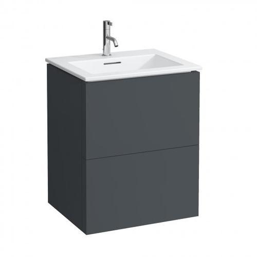 Kartell by Laufen Waschtisch mit Waschtischunterschrank B: 60 H: 72,5 T: 50 cm, 2 Auszügen Front schiefer / Korpus schiefer H8603336421041