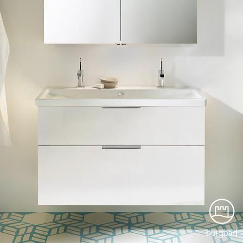 Burgbad Eqio Waschtisch mit Waschtischunterschrank B: 103 H: 64,5 T: 49 cm, mit 2 Auszügen Front weiß hochglanz / Korpus weiß glanz, Griff chrom SEYR103F2009C0001G0146