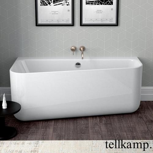 Tellkamp Koeko R Vorwand-Badewanne mit Verkleidung L: 155 B: 75 / 50 H: 60 cm weiß glanz, mit Wanneneinlauf 0100-041-00-AUF/CR