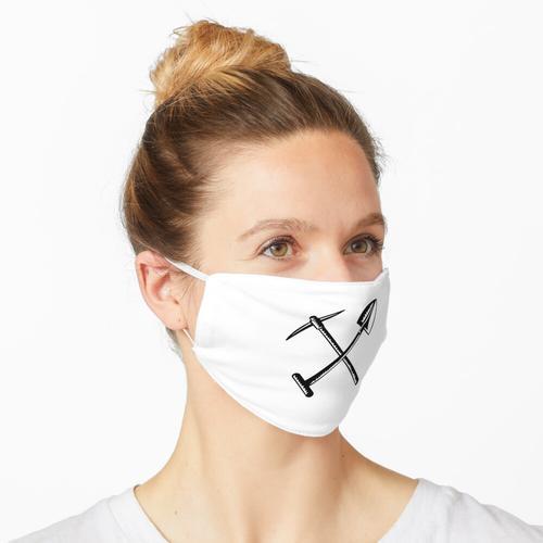 Gekreuzter Spaten oder Schaufel und Bergbau Spitzhacke Spitzhacke Spitzhacke oder Pick Retro H Maske