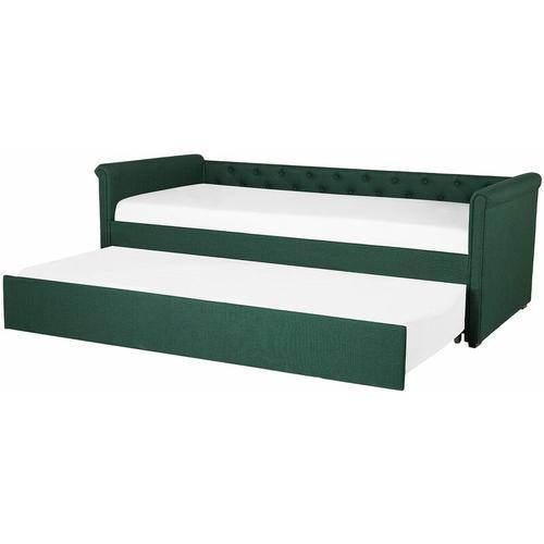 Tagesbett Ausziehbett Grün 80 x 200 cm Ausziehbar Polsterbezug Leinenoptik Mit Lattenrost