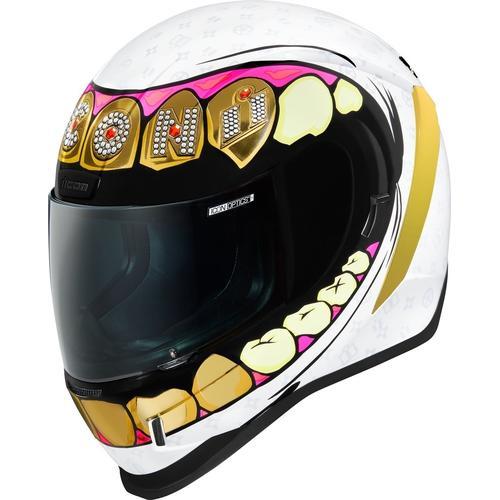 Icon Airform Grillz Helm, weiss-gold, Größe M