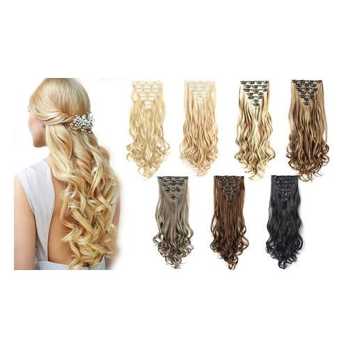 7er-Set Clip-in-Haarverlängerung: Mix-Blond