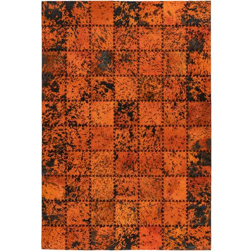 Leder Patchwork Teppich Fell Teppiche Lederteppich Stitches Orange 160cm x 230cm