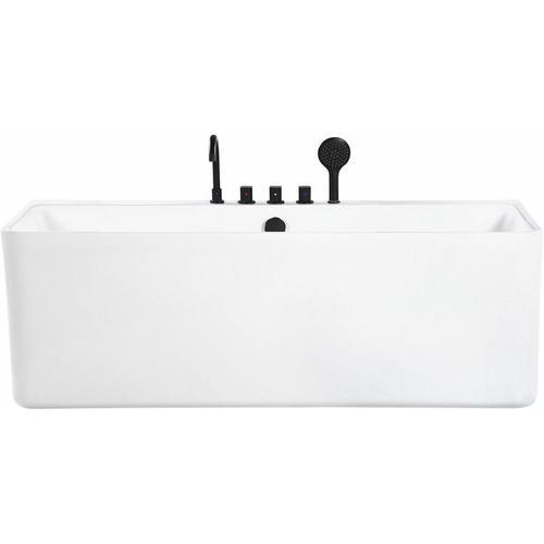 Badewanne Weiß Sanitäracryl Rechteckig 170 cm abgerundete Kanten mit Duschbrause