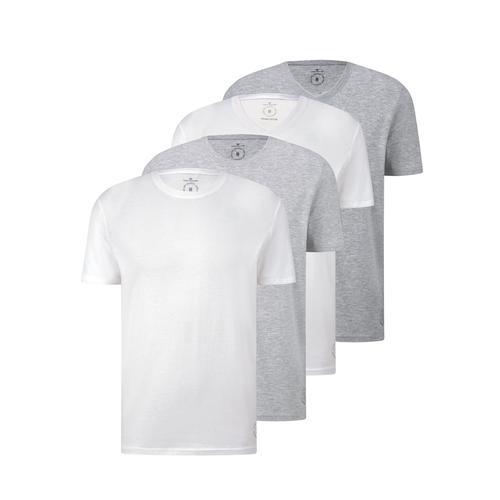 TOM TAILOR Herren Basic T-Shirt im Viererpack, weiß, Gr.M