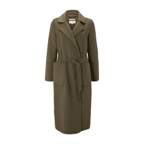 TOM TAILOR Damen Langer Mantel mit Bindegürtel, grün, Gr.XXL