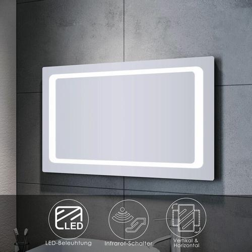 Badspiegel LED 100x60 mit Beleuchtung Infrarot Wandspiegel Badezimmerspiegel Bad