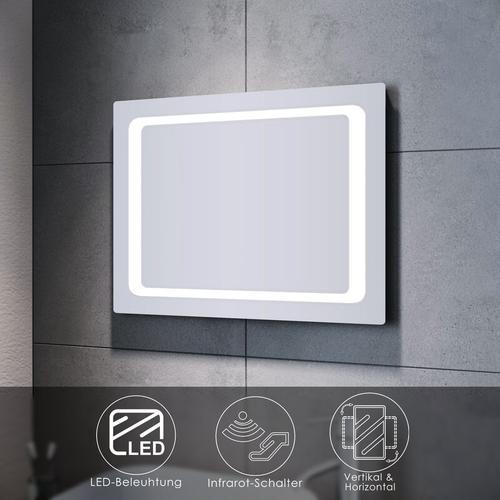 Badspiegel LED 80x60 mit Beleuchtung Infrarot Wandspiegel Badezimmerspiegel Bad
