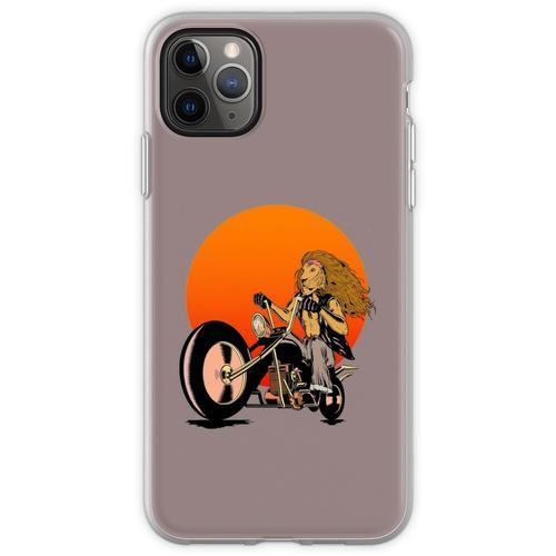 Löwe, Katze, Biker - Motorräder, Motorradbekleidung, Fahrräd Flexible Hülle für iPhone 11 Pro Max