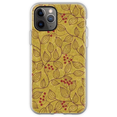 Blätter und Beeren in Sandfarbe Flexible Hülle für iPhone 11 Pro