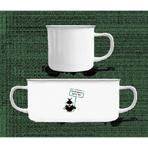 Fresse Halten Kaffee Her - Emaille-Tasse