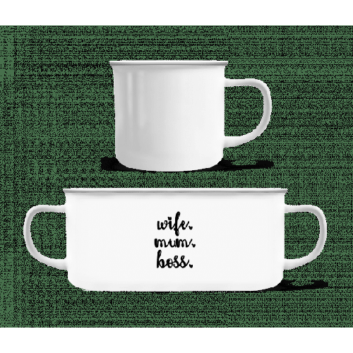 Wife Mum Boss - Emaille-Tasse