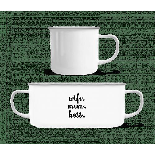 Wife Mum Boss - Emaille-Tasse