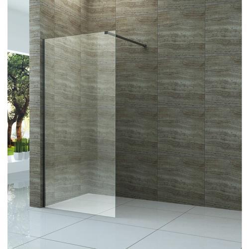 Duschwand DIDIVO mit schwarzen Anbauteilen in 70 x 200 cm