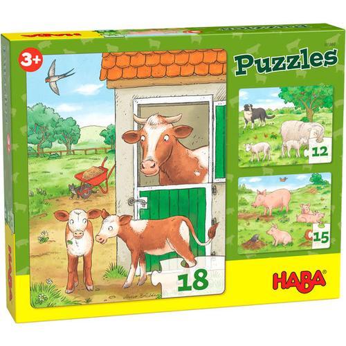 HABA Puzzles Bauernhoftierkinder, bunt