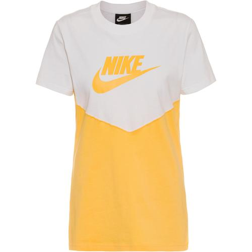 Nike NSW T-Shirt Damen in white-topaz gold-topaz gold, Größe XL