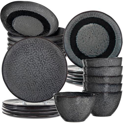 LEONARDO Kombiservice Matera, (Set, 24 tlg.), rustikale Optik grau Geschirr-Sets Geschirr, Porzellan Tischaccessoires Haushaltswaren