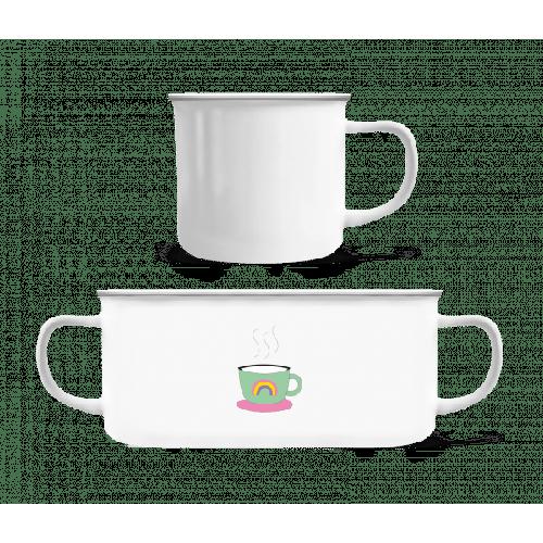 Regenbogen Kaffee Tasse - Emaille-Tasse