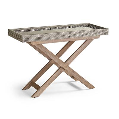 Peralta Woven Console Table - Gray Wicker with Weathered Teak - Frontgate