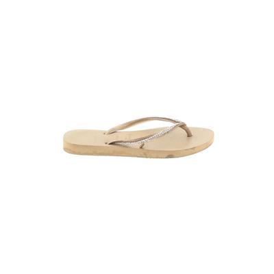 Havaianas Flip Flops: Tan Solid Shoes - Size 4