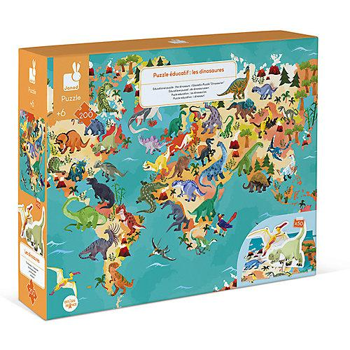 Edukativ-Puzzle Dinosaurier mit Figuren, 200 Teile