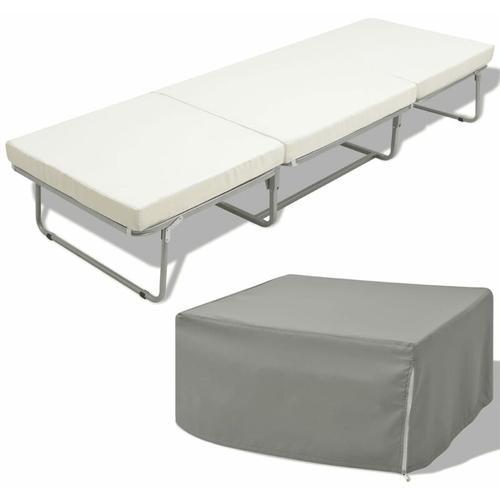 Klappbett mit Matratze Weiß Stahl 70×200 cm - Youthup