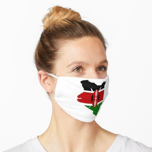 Kenia. KENIA. KARTE UND FLAGGE. Maske