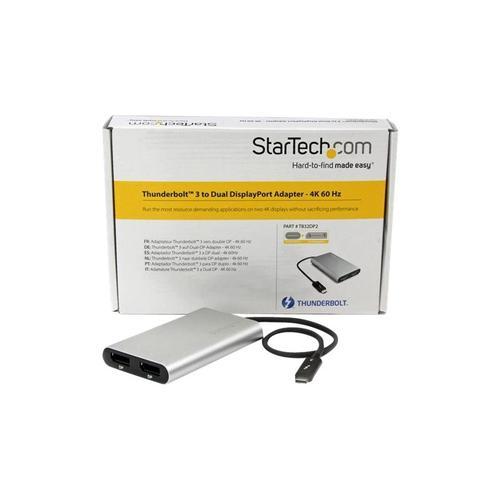 StarTech.com Thunderbolt 3 zu Dual DisplayPort Adapter 4k 60 Hz Externer Videoadapter 3