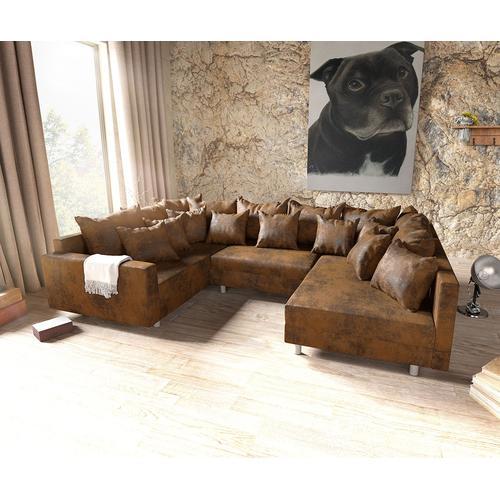 DELIFE Wohnlandschaft Clovis Braun Antik Optik modular Armlehne, Design Wohnlandschaften, Couch Loft, Modulsofa, modular