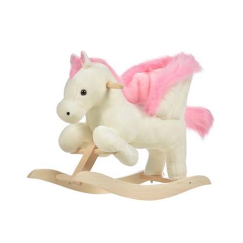 Schaukelpferd mit Tiergeräusche rosa/weiß