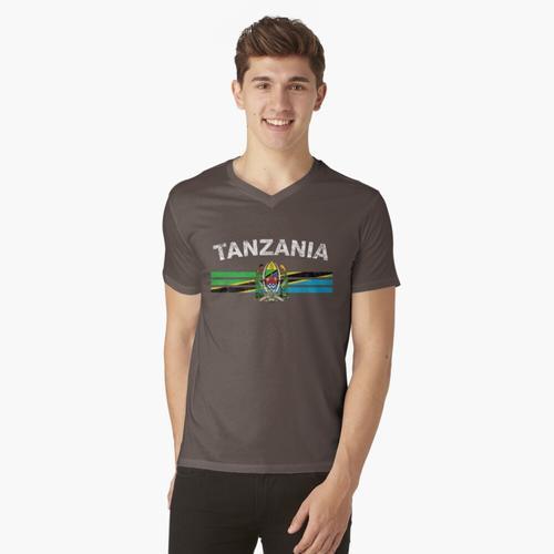 Tansanische Flagge Shirt - Tansania Emblem & Tansania Flag Shirt t-shirt:vneck
