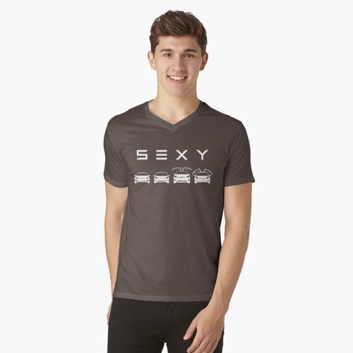 S3XY Tesla - Modell S, Modell 3, Modell X, Modell Y - Elon Musk t-shirt:vneck