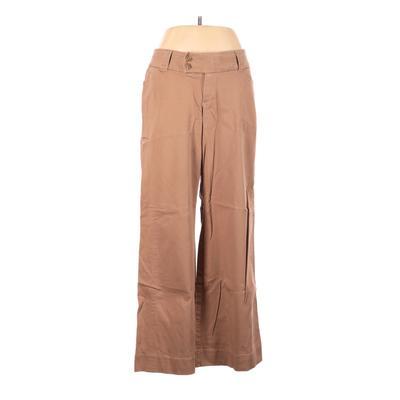 Lane Bryant Khaki Pant: Tan Solid Bottoms - Size 14 Plus