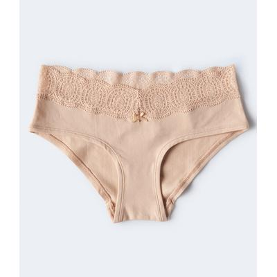 Aeropostale Girls' Lace-Trimmed Hipster - Beige - Size L - Cotton