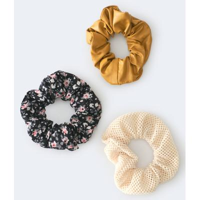 Aeropostale Girls' Faux Leather Scrunchie 3-Pack - Black - Size One Size - Cotton