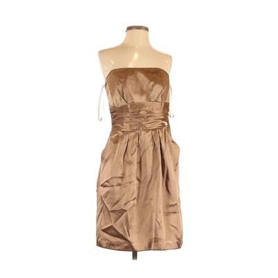 David's Bridal Cocktail Dress - Party: Tan Solid Dresses - Used - Size 8
