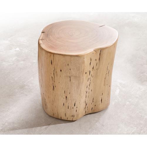 DELIFE Beistelltisch Live-Edge 42x44 cm Akazie Natur massiv rollbar, Beistelltische, Baumkantenmöbel, Massivholzmöbel, Massivholz