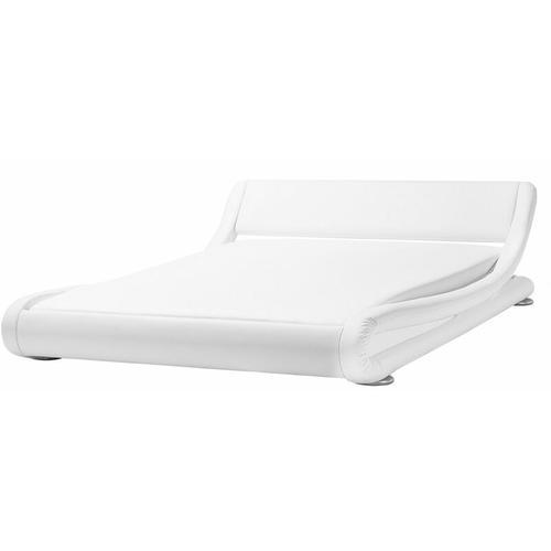 Beliani - Wasserbett Leder Weiß 160 x 200 cm Geschwungene Form Hohe Kopfteil Wärmedämmung für Dual