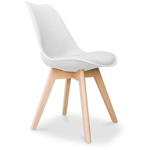 Premium Deswick Stuhl mit Kissen Skandinavisches design Weiß