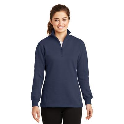 Sport-Tek LST253 Women's 1/4-Zip Sweatshirt in True Navy Blue size XL   Cotton/Polyester Blend