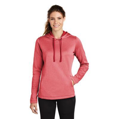 Sport-Tek LST264 Women's PosiCharge Sport-Wick Heather Fleece Hooded Pullover T-Shirt in Deep Red size XL | Polyester