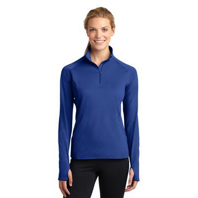 Sport-Tek LST850 Women's Sport-Wick Stretch 1/2-Zip Pullover T-Shirt in True Royal Blue size 3XL | Polyester/Spandex Blend
