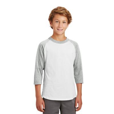 Sport-Tek YT200 Youth Colorblock Raglan Jersey T-Shirt in White/Heather Grey size XS | Cotton