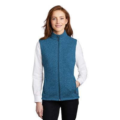 Port Authority L236 Women's Sweater Fleece Vest in Medium Blue Heather size XL