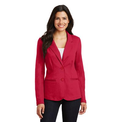 Port Authority LM2000 Women's Knit Blazer Coat in Rich Red size Small | Cotton/Polyester Blend