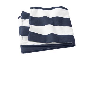 Port Authority PT43 Cabana Stripe Beach Towel in Navy Blue size OSFA | Cotton