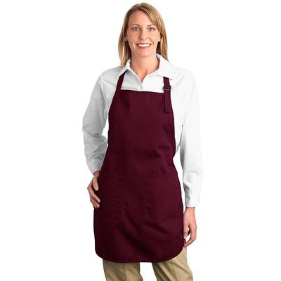 Port Authority A500 Full-Length Apron with Pockets in Maroon size OSFA   Cotton