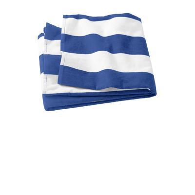 Port Authority PT43 Cabana Stripe Beach Towel in Royal Blue size OSFA | Cotton