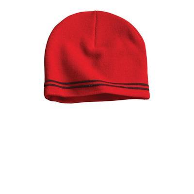 Sport-Tek STC20 Spectator Beanie Hat in True Red/Black size OSFA | Acrylic